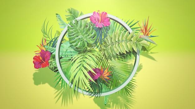 Тропические цветы и листья крупного плана, летний фон. элегантная и роскошная 3d-иллюстрация в стиле ретро 80-х, 90-х годов