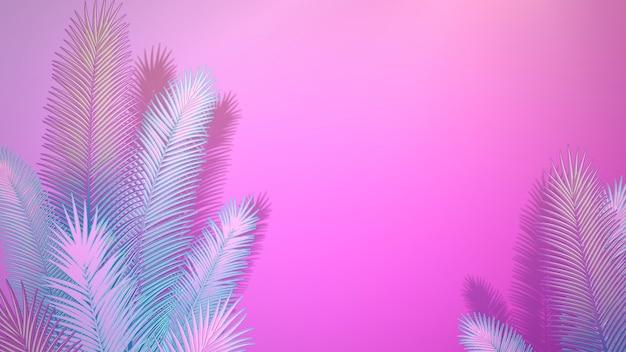 Крупным планом тропический лист деревьев, летний фон. элегантная и роскошная трехмерная иллюстрация в стиле ретро 80-х, 90-х годов