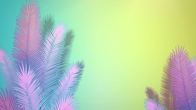 Крупным планом тропический лист деревьев, летний фон. элегантная и роскошная 3d-иллюстрация в стиле ретро 80-х, 90-х годов
