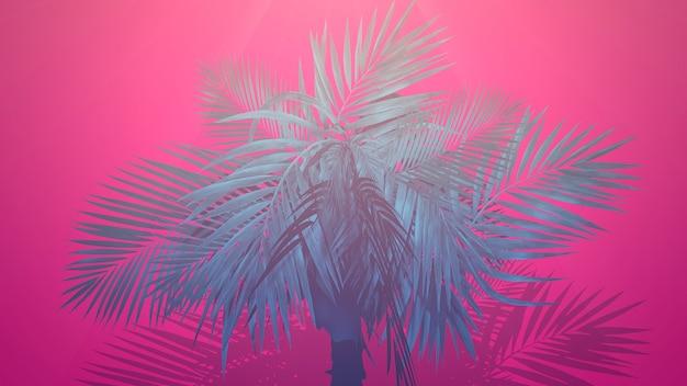 Крупным планом тропические пальмы, летний фон. элегантная и роскошная 3d-иллюстрация в стиле ретро 80-х, 90-х годов