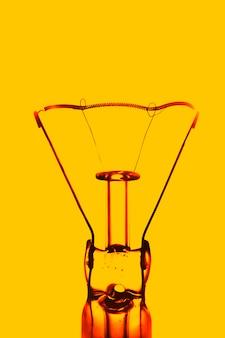 Closeup tungsten light bulb inside art photography