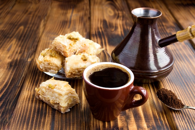 Closeup on turkish coffee and delight on the table