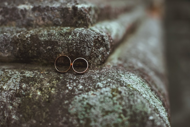 Closeup of two wedding rings lying on a stone