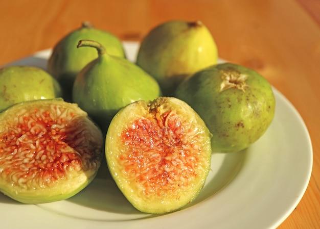 Closeup the unique texture of cut ripe fig flesh