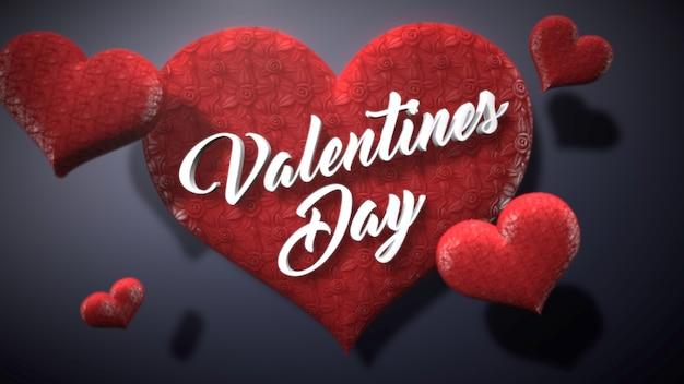 クローズアップバレンタインデーのテキストと愛の光沢のある背景にロマンチックな心。休日のための豪華でエレガントなスタイルの3dイラスト