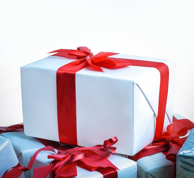 Closeup. a variety of gift boxes.isolated on white background