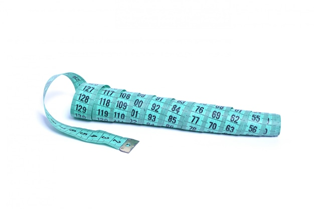 Closeup view of blue measuring tape isolated
