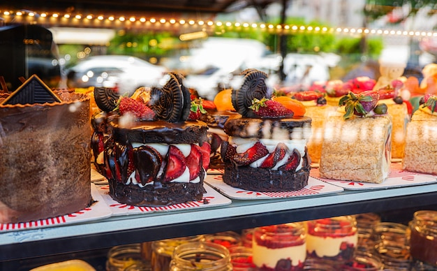 Closeup view of the cakes in a shopwindow