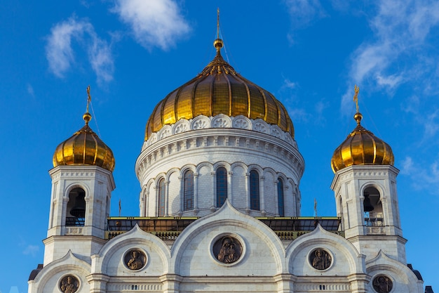 Closeup view of cathedral of christ the saviour facade in moscow with blue sky background