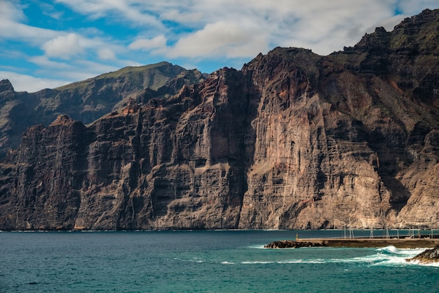 Closeup view of the cliffs of los gigantes