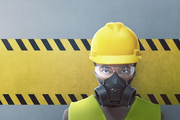 Closeup view of construction worker with protective mask