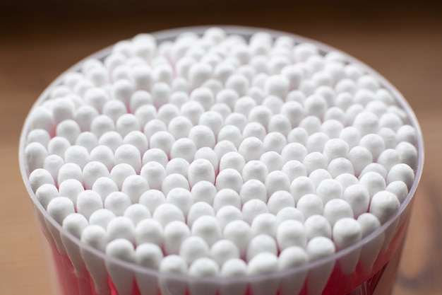Closeup view from above on round pack of cotton buds