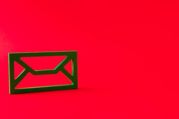 Closeup view of green mailbox figure