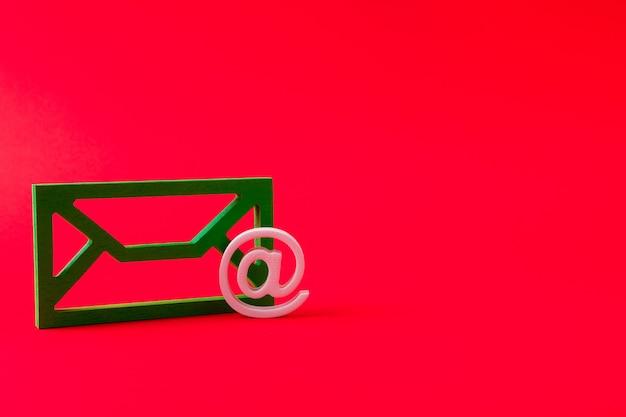 Closeup view of green mailbox form figure