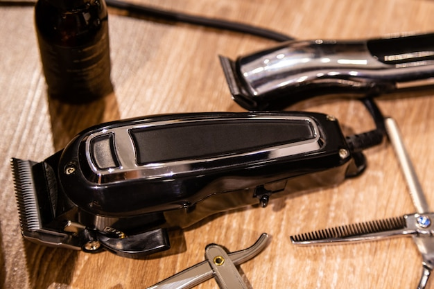 Closeup view of hairclipper and  barber tools. equipment of barbershop
