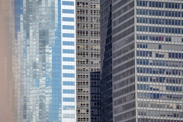 Closeup view of huge buildings and beautiful skyscrapers in new york city