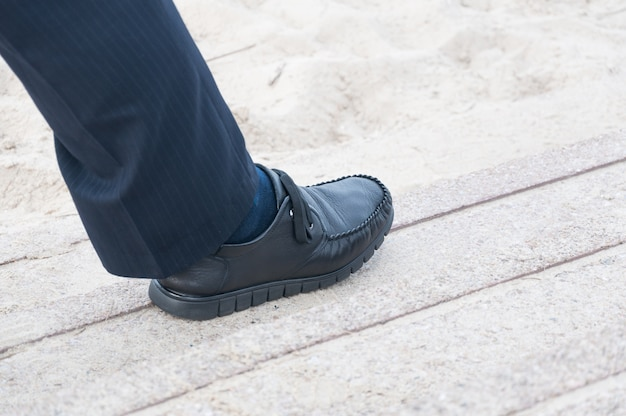 Closeup view of man's leather black shoes