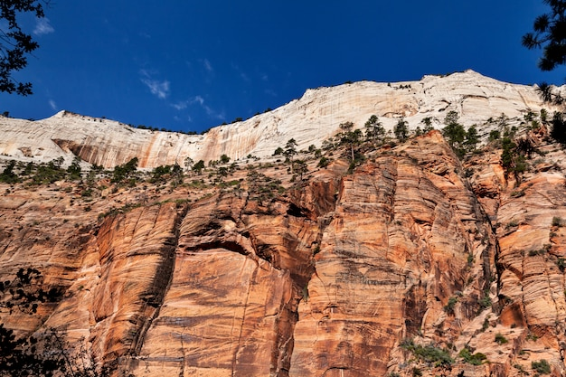 Closeup view of mountain against a blue sky at zion national park in utah