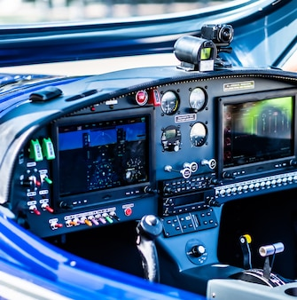 Closeup view of plane control pannel