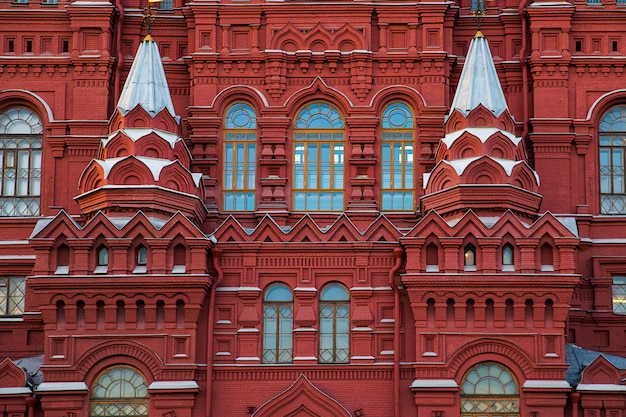 Closeup view of state historical museum facade in moscow, traditional russian  red-brick building