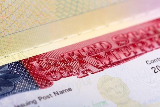 Closeup view of us visa in passport