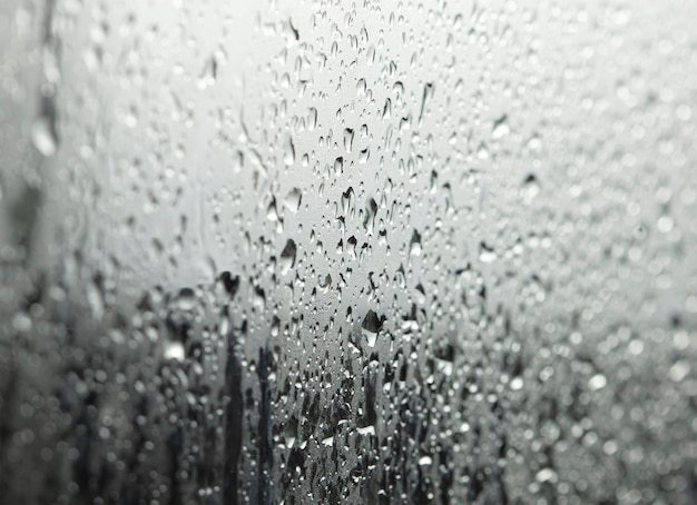 Closeup view of water drops in the shower