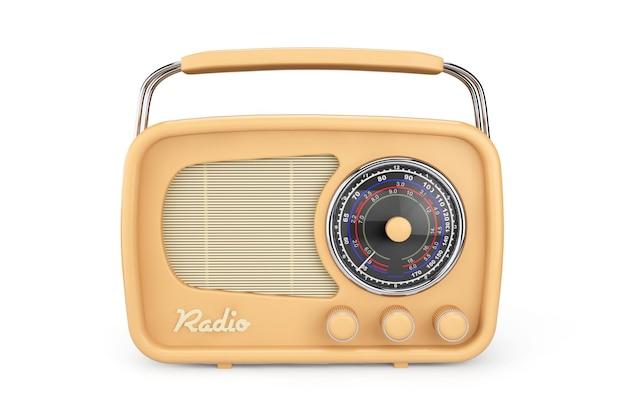 흰색 배경에 근접 촬영 빈티지 라디오