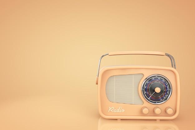 노란색 배경에 근접 촬영 빈티지 라디오