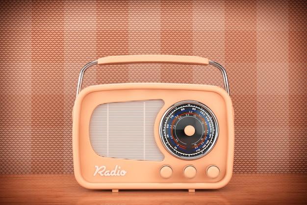 테이블 앞 벽 배경에 근접 촬영 빈티지 라디오