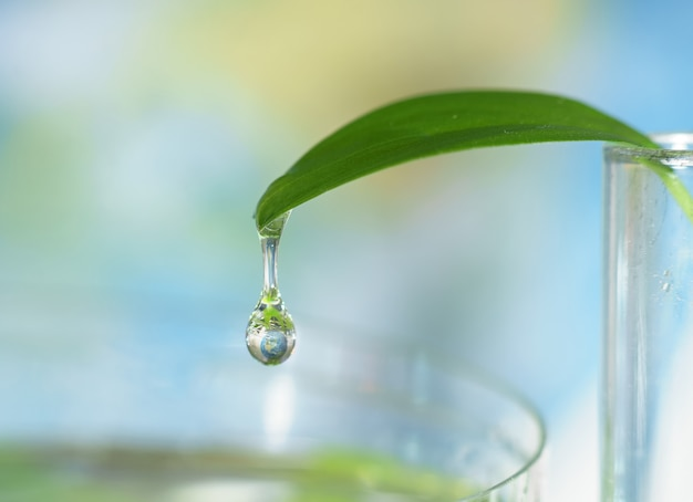 Closeup of water drop with earth sphere reflection