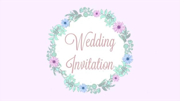근접 촬영 결혼식 초대장 텍스트와 여름 꽃, 결혼식 배경의 복고풍 원. 결혼식이나 낭만적인 테마를 위한 우아하고 고급스러운 파스텔 3d 일러스트레이션 스타일