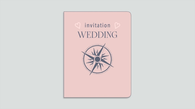 Closeup wedding invitation text and passport with navigate compass and hearts, travel background. elegant and luxury pastel 3d illustration style for wedding or romantic theme