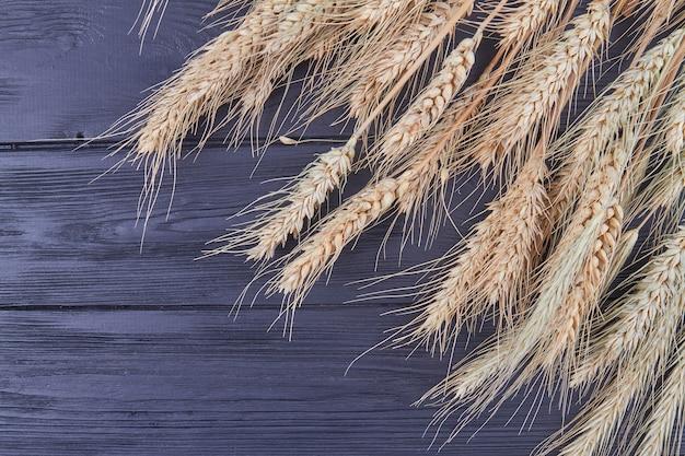 Колоски пшеницы крупным планом на черном деревянном фоне