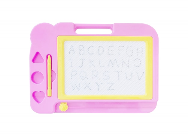 Closeup white board toy for kid with a to z alphabet isolated on white background