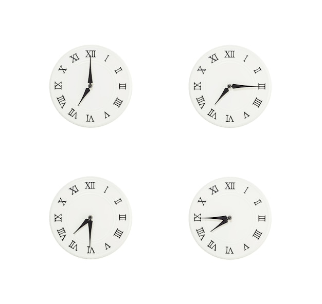 Closeup white clock isolated on white background