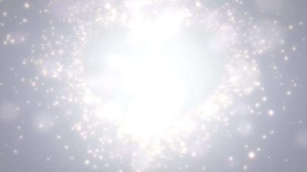 愛のクローズアップ白い心、結婚式の背景。エレガントで豪華なパステルスタイルの3dイラスト