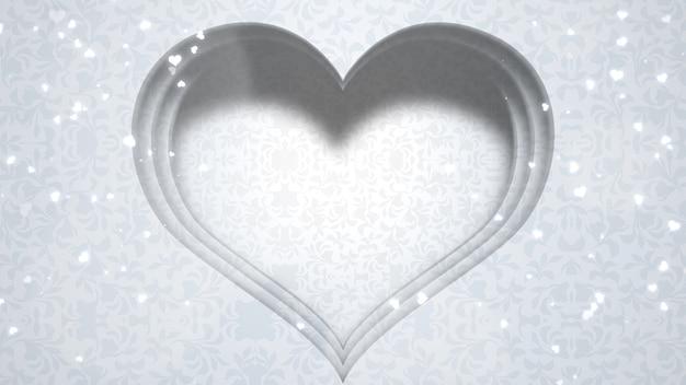 愛のクローズアップ白い心、結婚式の背景。エレガントで豪華なパステルスタイルのイラスト