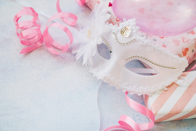 Closeup of white mask for carnival