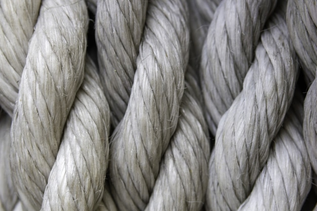 Closeup of white ropes under the lights