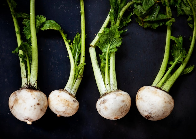 Closeup of white turnips on black background