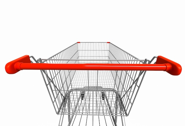 Closeup wide angle image of shopping cart rear view on white. 3d render