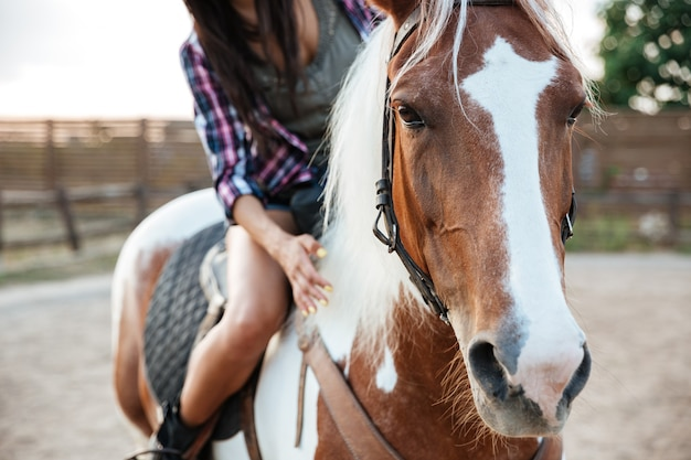 Closeup of woman cowgirl riding beautiful horse in village