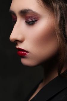 Closeup of woman face with makeup
