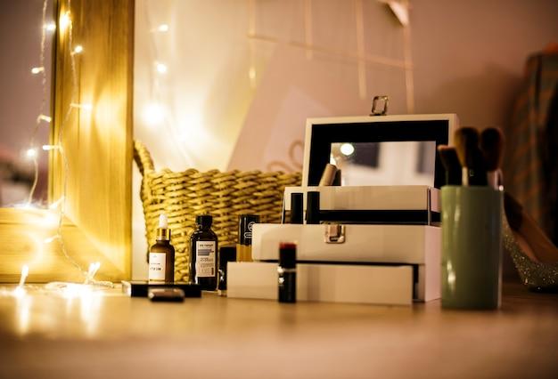 Closeup of woman's makeup box