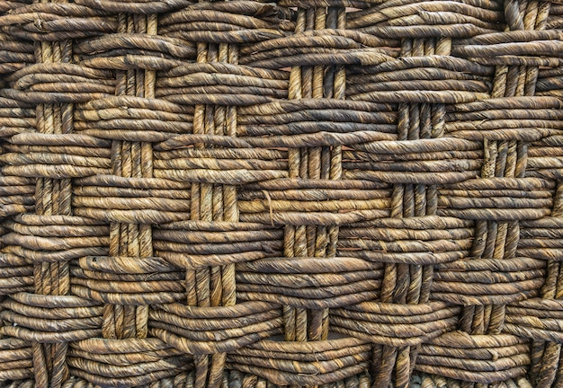 Closeup wood weaved basket texture background