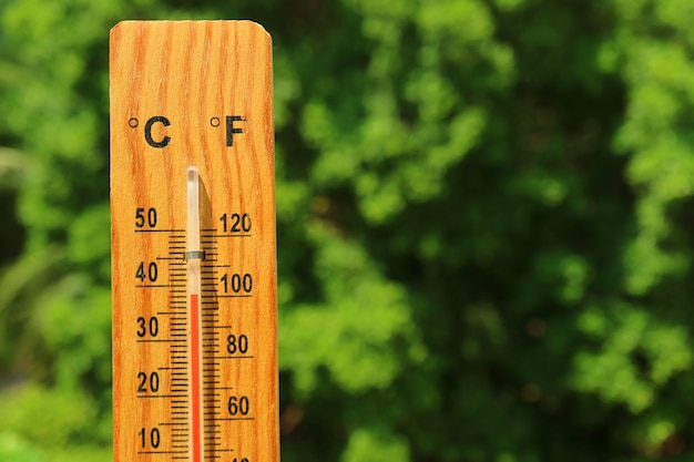 Closeup a wooden thermometer against green foliage showing high temperature
