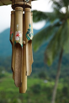 Closeup of wooden wind chime hanging outside