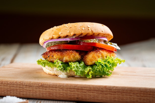 Closeup on zinger burger with deep fried chicken