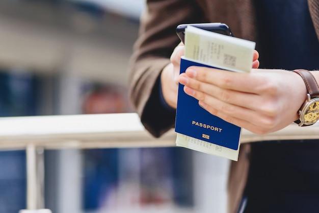Closup phone passport and tickets