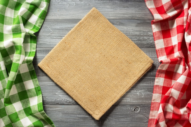 Cloth checked napkin on wooden